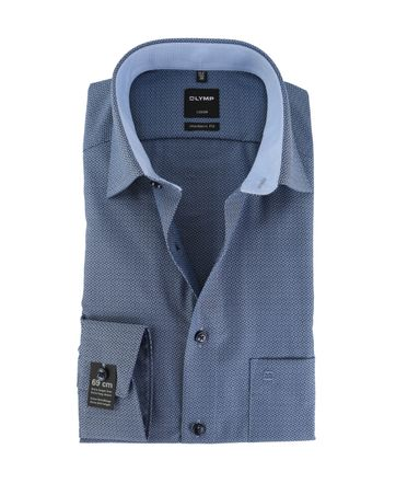 OLYMPStrijkvrij Overhemd Modern Fit Blauw Print Sleeve7