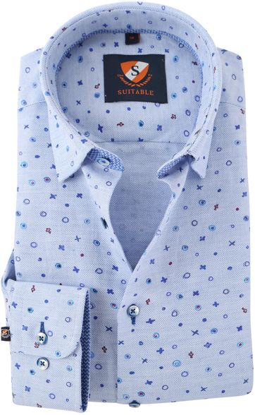Overhemd Blauw Print 154-3