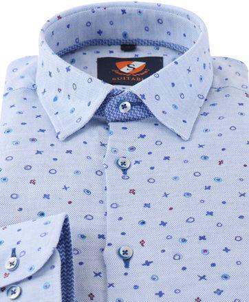 Detail Overhemd Blauw Print 154-3
