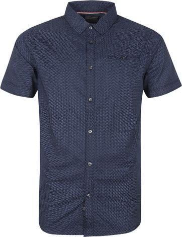 Petrol Casual Shirt Short Sleeves Dark Blue