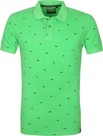 Petrol Polo Shirt Green Print