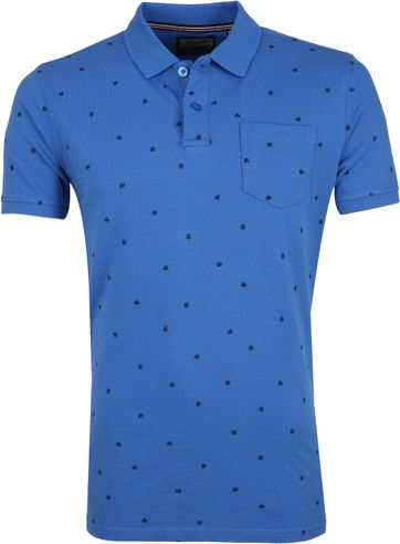 Petrol Poloshirt Blue Leaves