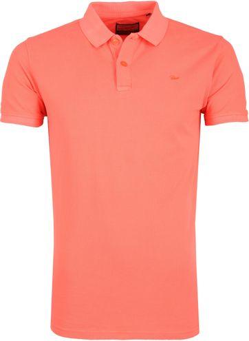 Petrol Poloshirt Effen Fel Oranje