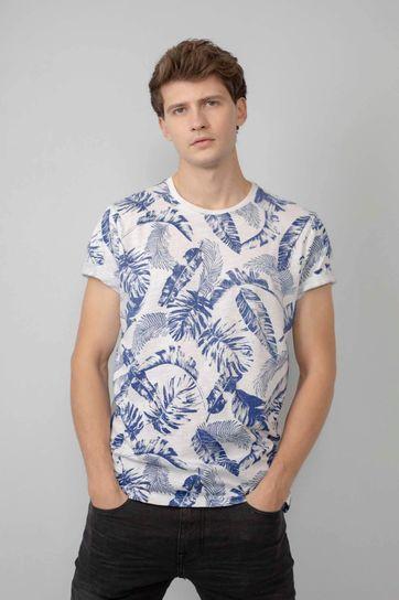 Petrol T Shirt Blumen Blau