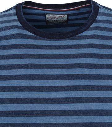 Petrol T-Shirt Strepen Blauw