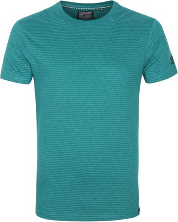 Petrol T Shirt Stripes Green