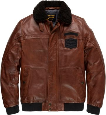 PME Legend Leather Hudson 2.0 Bomber Brown Jacket