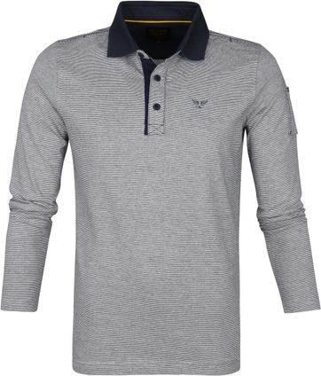 PME Legend Long Sleeve Polo Strepen Donkerblauw