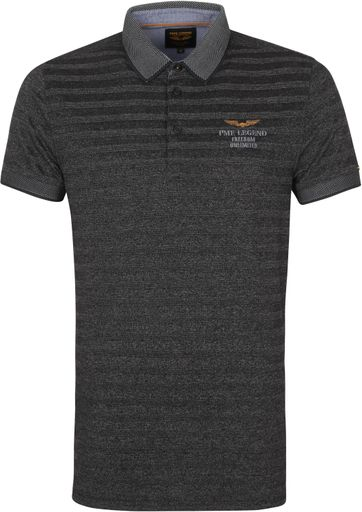 PME Legend Polo Shirt Stripes Dark Grey