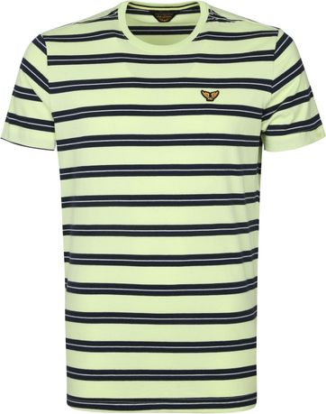 PME Legend T Shirt Stripes Lime Green