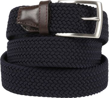 Profuomo Braided Belt Navy