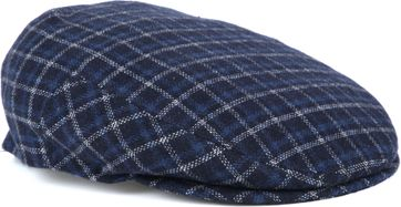 Profuomo Flat Cap Checked Navy