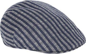 Profuomo Flat Cap Gebreid Strepen Donkerblauw