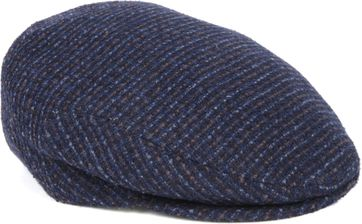 Profuomo Flat Cap Woven Navy Brown