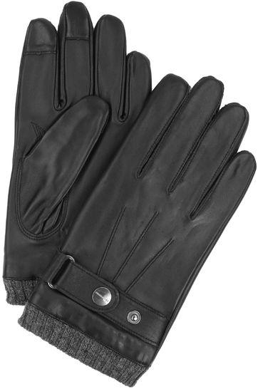Profuomo Handschoenen Glad Leer Zwart