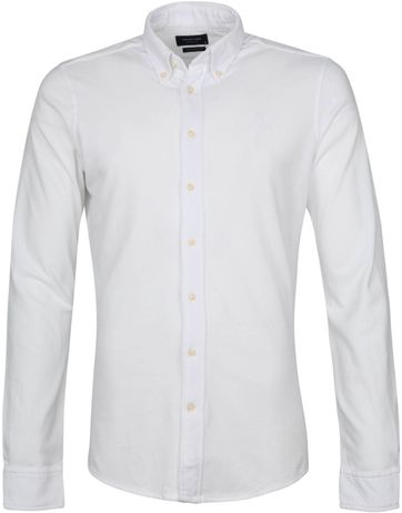 Profuomo Hemd Garment Dyed Button Down Weis