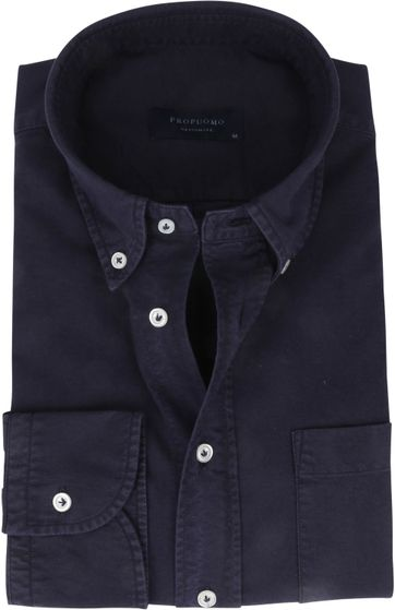 Profuomo Hemd Garment Dyed Donkerblauw
