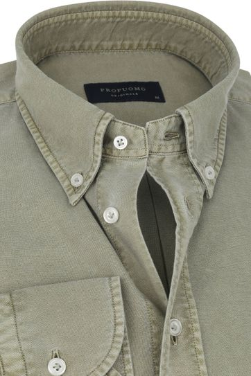 Profuomo Hemd Garment Dyed Groen