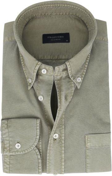 Profuomo Hemd Garment Dyed Grün