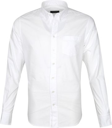Profuomo Hemd Garment Dyed Weiß
