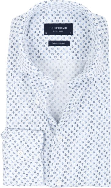 Profuomo Hemd Knitted Dessin Weiss