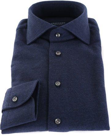 Profuomo Hemd Knitted Donkerblauw