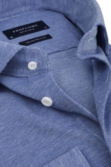 Profuomo Hemd Knitted Mid Blauw