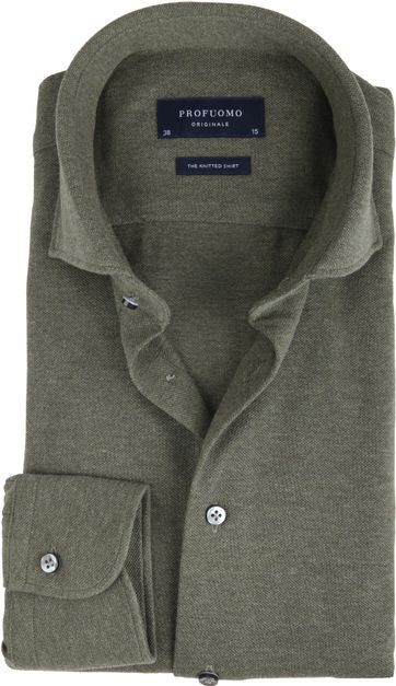 Profuomo Hemd Knitted Slim Fit Grün
