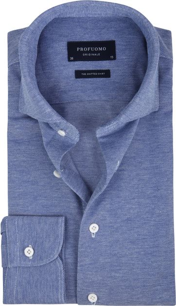 Profuomo Hemd Knitted Slim Fit Mid Blau