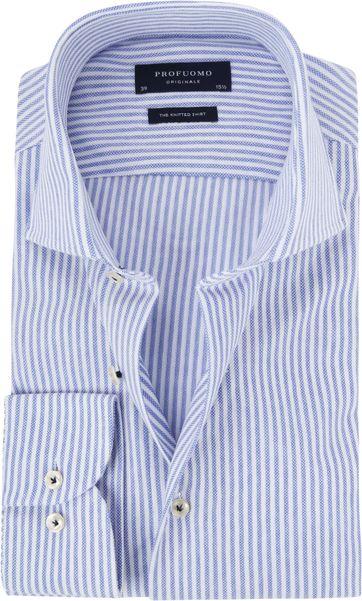 Profuomo Hemd Knitted Slim Fit Streifen Blau