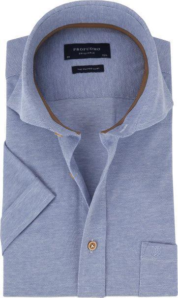Profuomo Hemd SS Knitted Blau