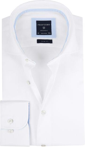 Profuomo Hemd Weiß + Blauw Kontrast