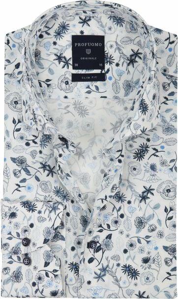 Profuomo Hemd Weiß Dessin Blau