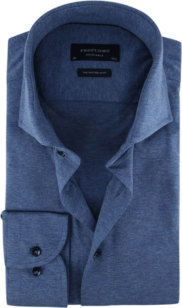 Profuomo Knitted Jersey Hemd Blau