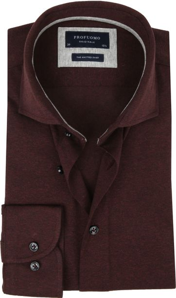 Profuomo Knitted Jersey Hemd Bordeaux