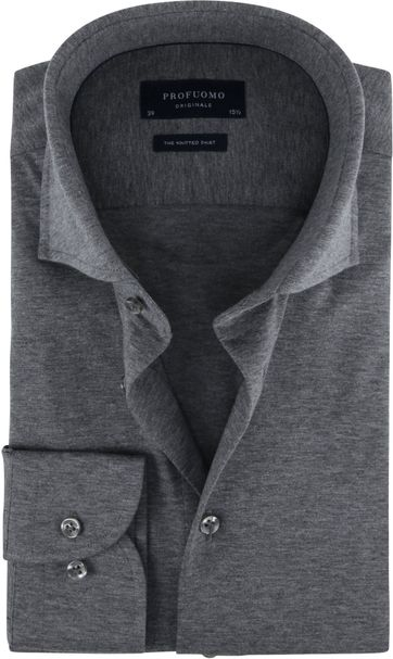 Profuomo Knitted Jersey Hemd Grau