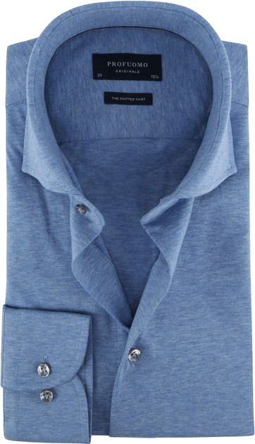 Profuomo Knitted Jersey Hemd Lichtblauw