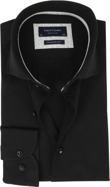 Profuomo Knitted Jersey Hemd Schwarz