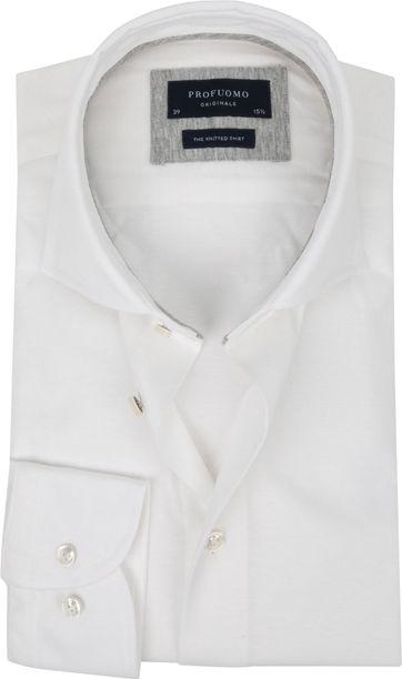Profuomo Knitted Jersey Hemd Weiß