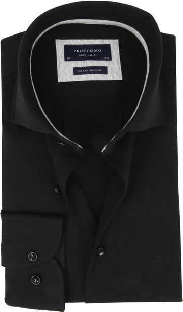 Profuomo Knitted Jersey Hemd Zwart