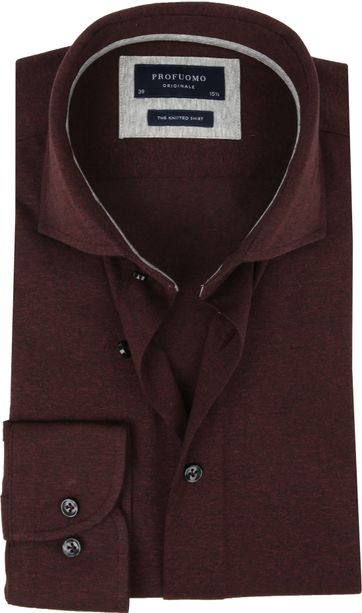 Profuomo Knitted Jersey Overhemd Bordeaux