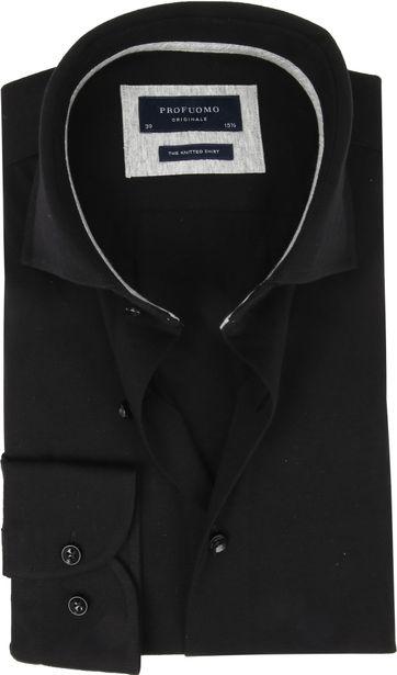 Profuomo Knitted Jersey Overhemd Zwart