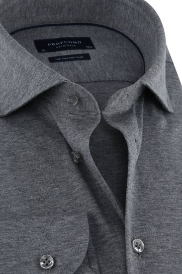 Profuomo Knitted Jersey Shirt Grey