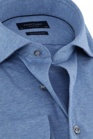 Profuomo Knitted Jersey Shirt Light Blue