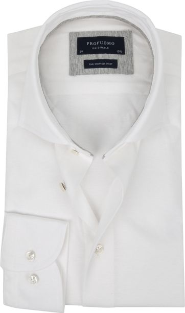 Profuomo Knitted Jersey Shirt White