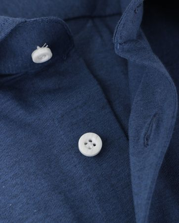 Detail Profuomo Knitted Overhemd Blauw