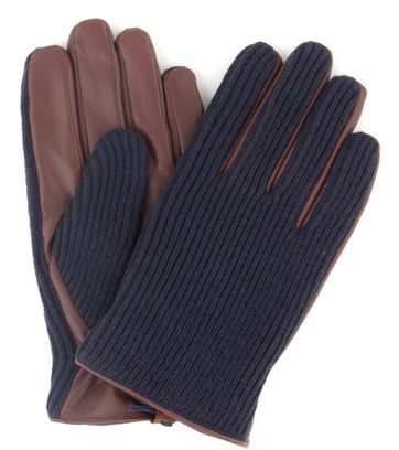 Profuomo Leather Gloves Nappa Navy + Brown