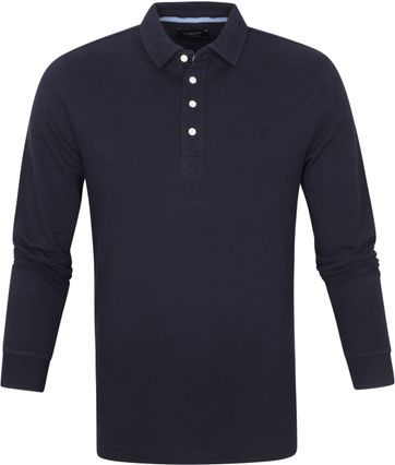 Profuomo Long Sleeve Polo Donkerblauw