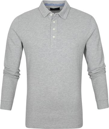 Profuomo Long Sleeve Polo Shirt Light Grey