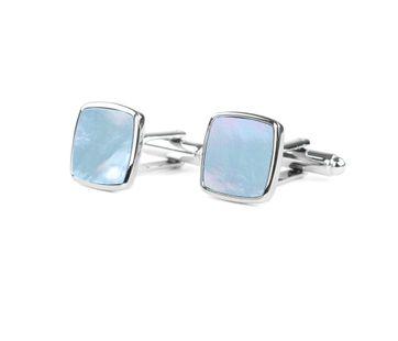 Profuomo Manchetknopen Zilver Blauw vierkant
